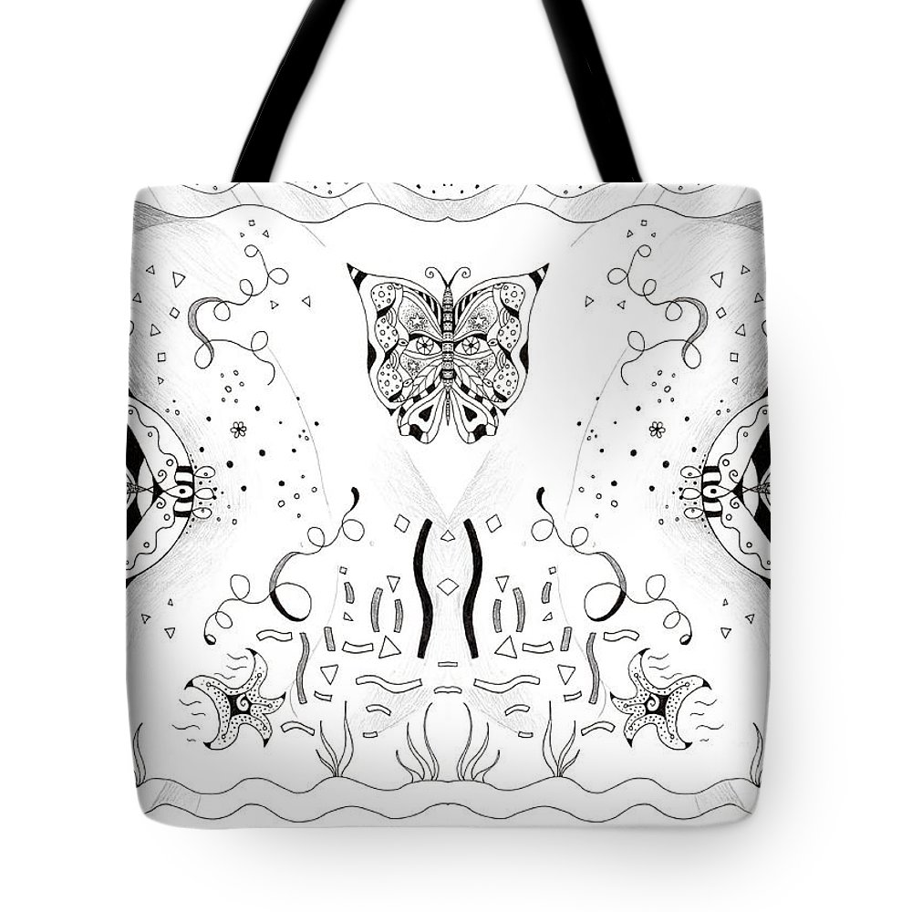 Endless Flow 3 By Helena Tiainen Tote Bag featuring the drawing Endless Flow 3 by Helena Tiainen