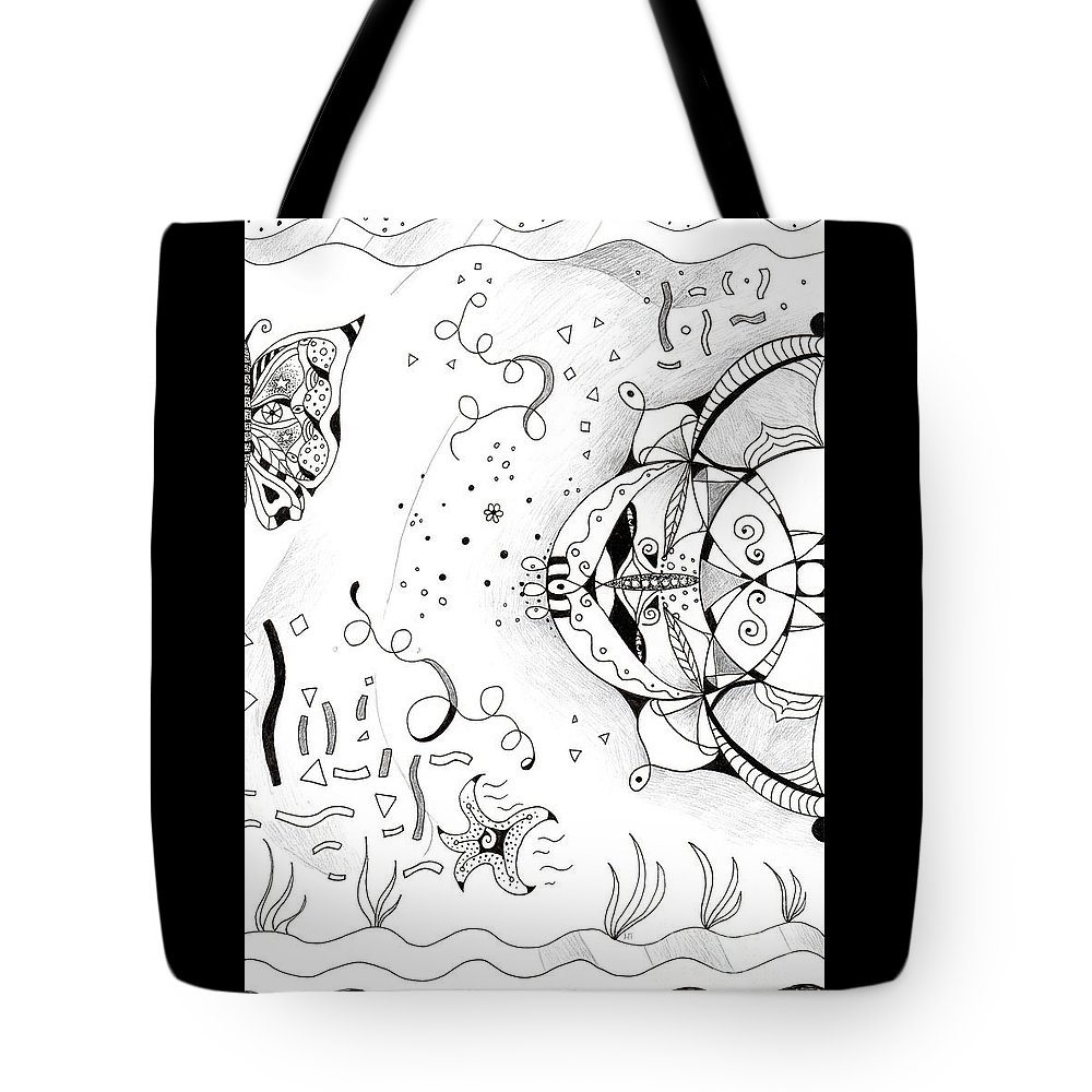 Endless Flow By Helena Tiainen Tote Bag featuring the drawing Endless Flow by Helena Tiainen
