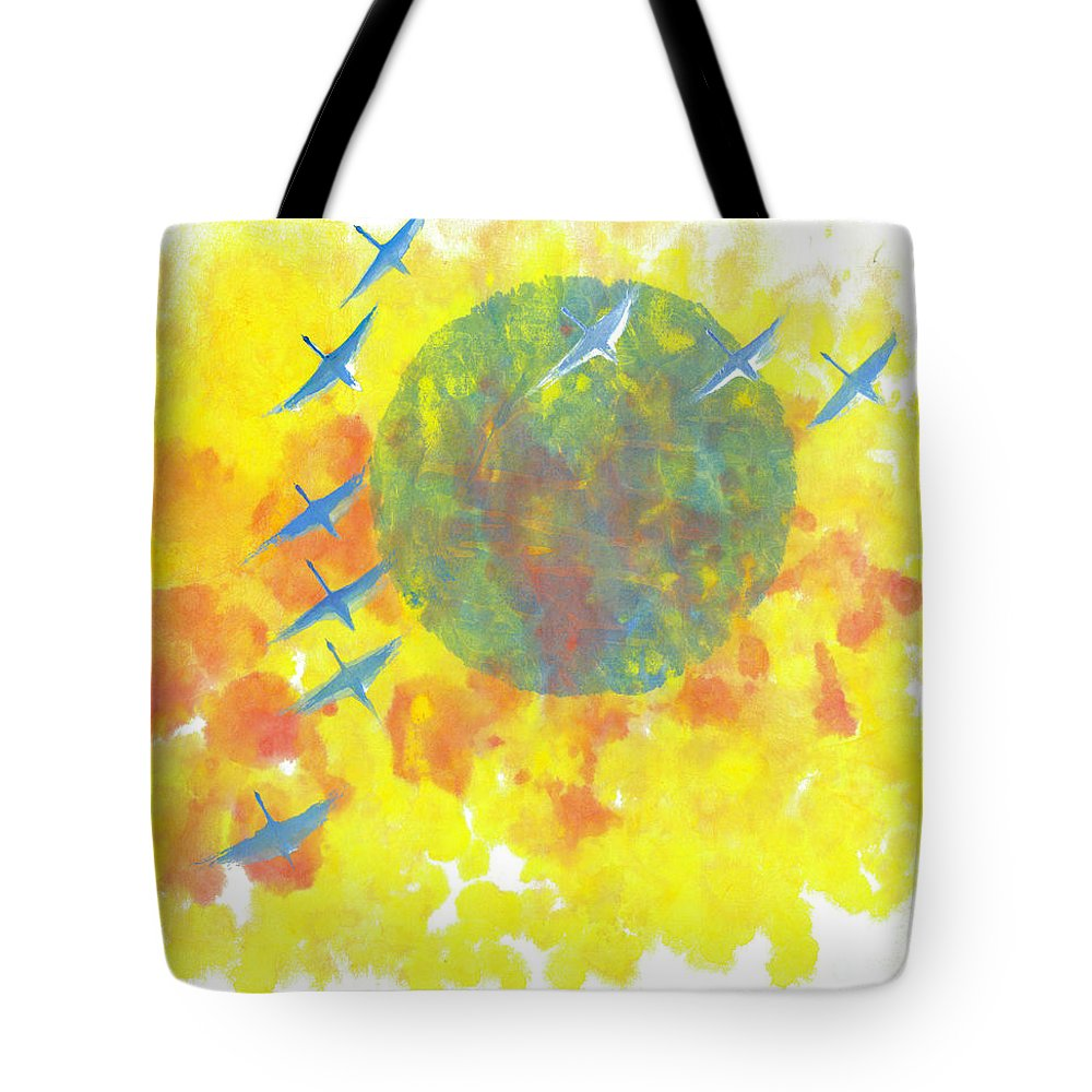 A Journey Through Time Depicted With Watercolor On Rice Paper By Mui-joo Wee In Simple Contemporary Brush Strokes Tote Bag featuring the painting An Enduring Journey II by Mui-Joo Wee