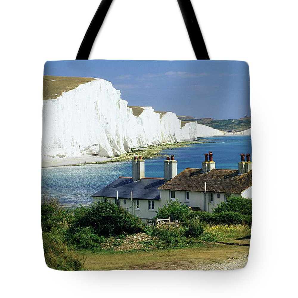 Scenics Tote Bag featuring the photograph England, Sussex, Seven Sisters Cliffs by David C Tomlinson