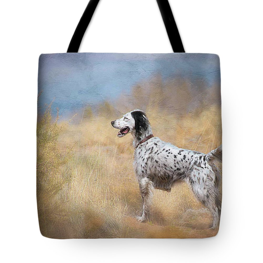 Digital Art Tote Bag featuring the photograph English Setter Dog by Zayne Diamond Photographic