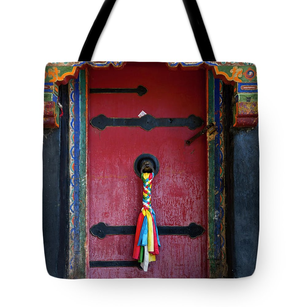 Chinese Culture Tote Bag featuring the photograph Entrance To The Tibetan Monastery by Hanhanpeggy