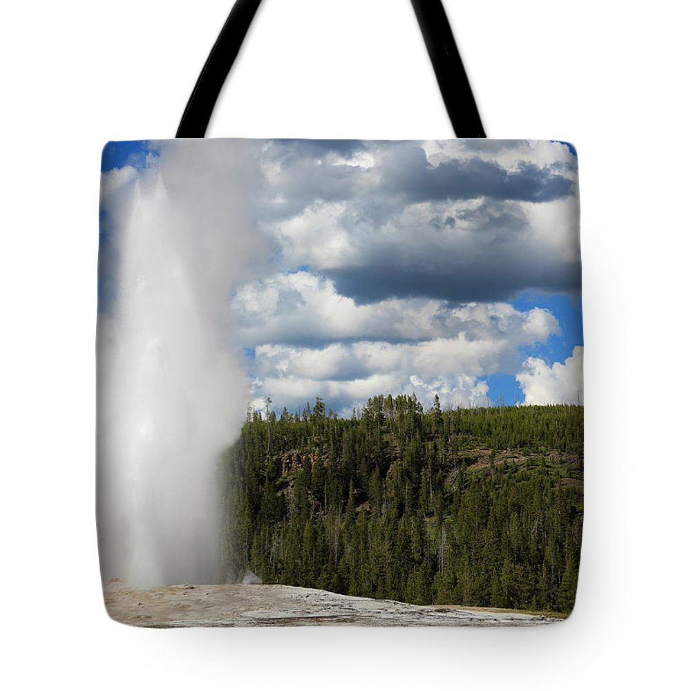 Geyser Tote Bag featuring the photograph Eruption Of Old Faithful Geyser In by Pawel.gaul