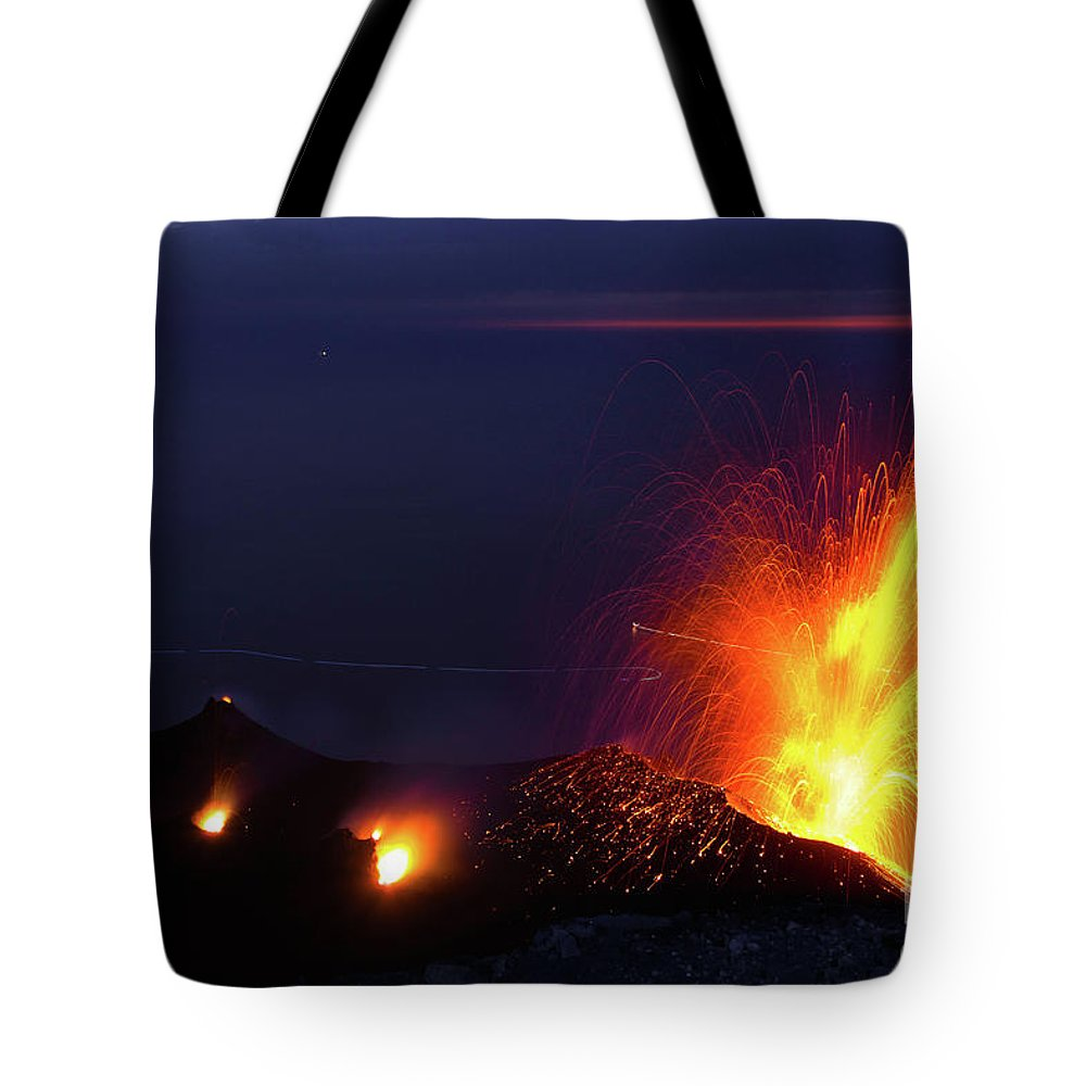 Non-urban Scene Tote Bag featuring the photograph Eruption Of Stromboli Volcano, Italy by Francesco Sartori