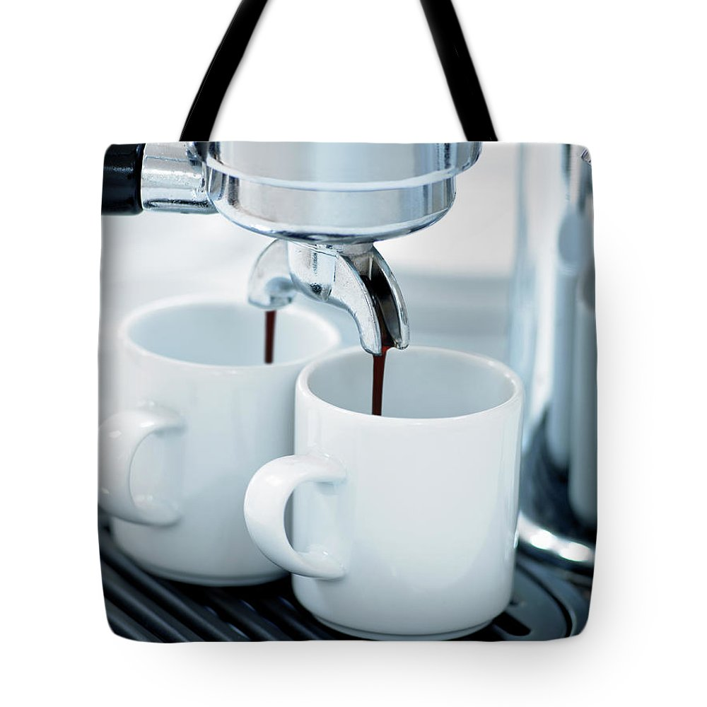 Temptation Tote Bag featuring the photograph Espresso Machine Making Coffee by Adam Gault