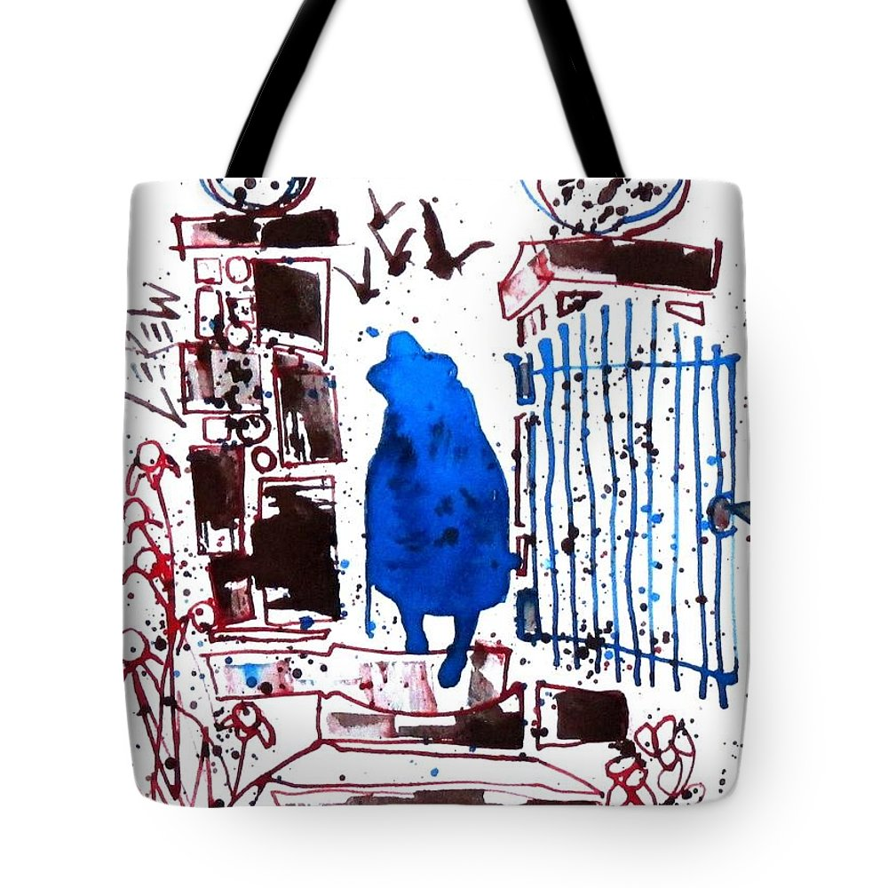 Esquire Tote Bag featuring the drawing Esquire by Larry Lerew