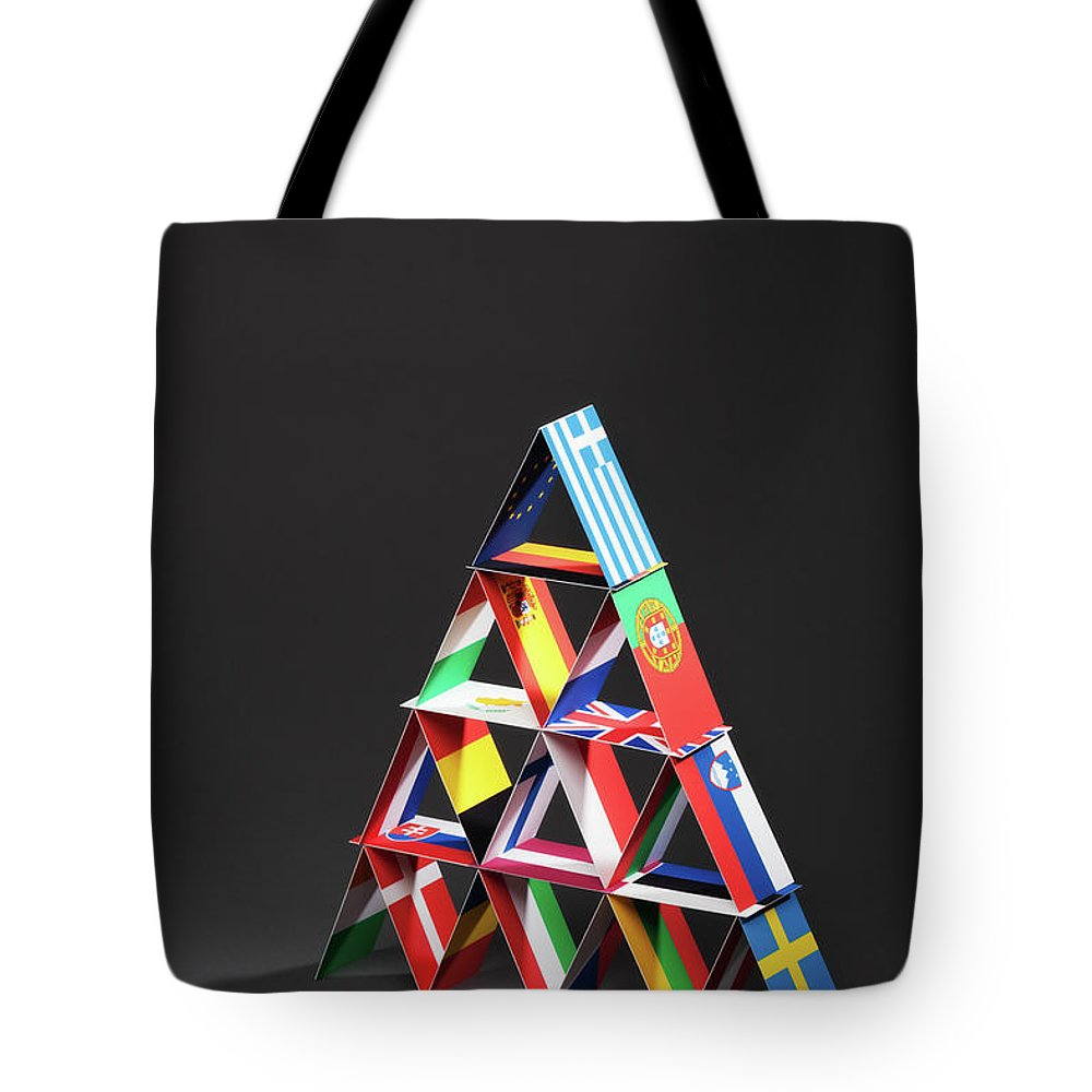 Debt Tote Bag featuring the photograph European Debt Crisis House Of Cards Vt by Yinyang