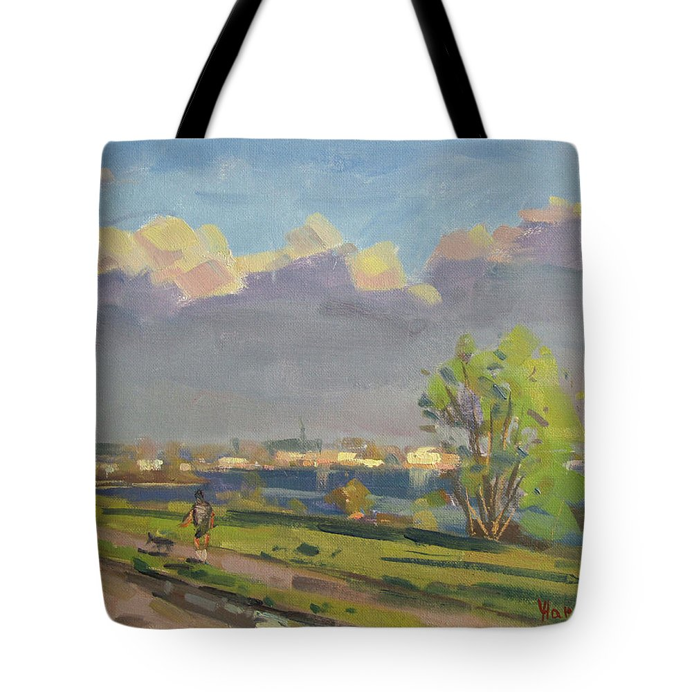 Evening Tote Bag featuring the painting Evening At Gratwick Waterfront Park by Ylli Haruni