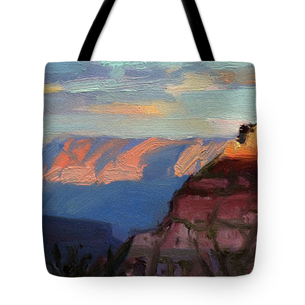 Southwest Tote Bag featuring the painting Evening Light at the Grand Canyon by Steve Henderson