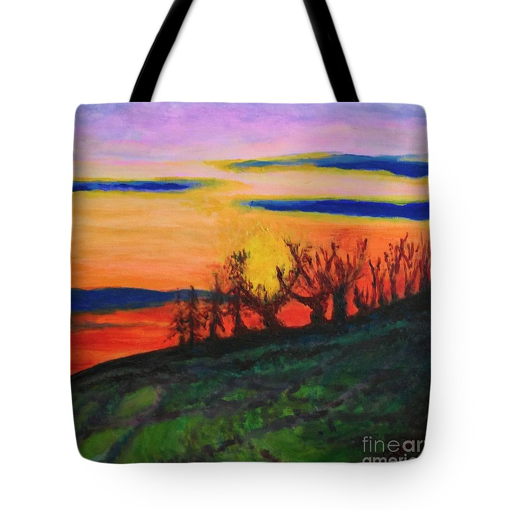 Trees Tote Bag featuring the painting Evening Tide by Caroline Cunningham