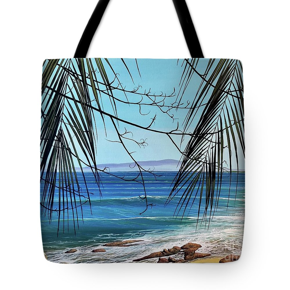 Beach Tote Bag featuring the painting Everything's Different Now by Hunter Jay