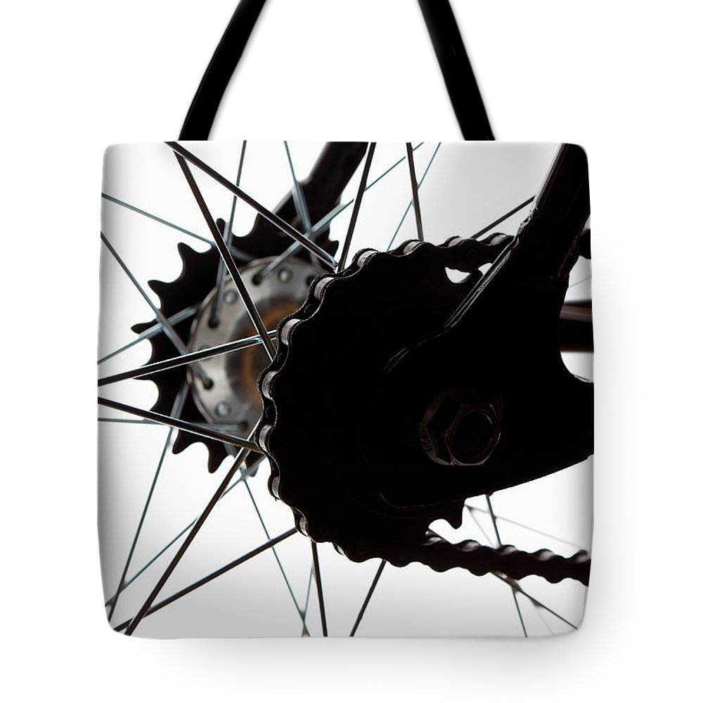 White Background Tote Bag featuring the photograph Extreme Close Up Of Chain And Spokes by Epoxydude
