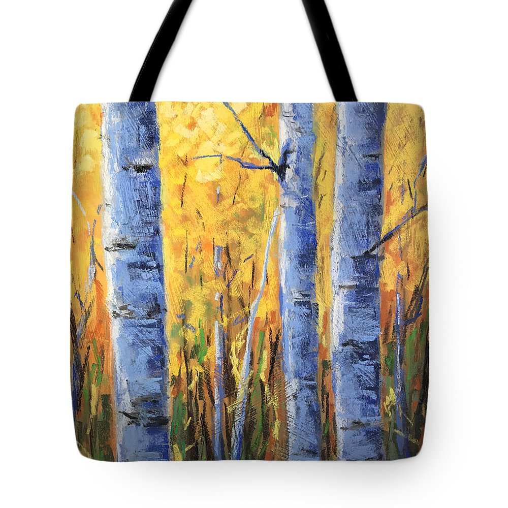Painting Aspen Tote Bag featuring the pastel Fall Aspen Iv by Jared Gunnerson