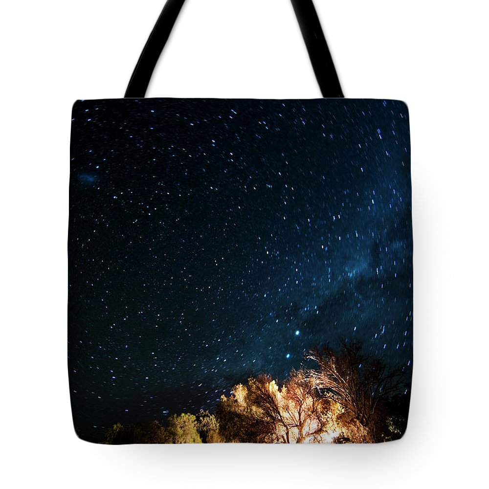Northern Cape Province Tote Bag featuring the photograph Farm House And Milky Way by Subman
