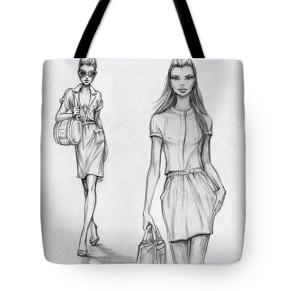 Sex Symbol Tote Bag featuring the digital art Fashion Models Black-and-white by Tatarnikova