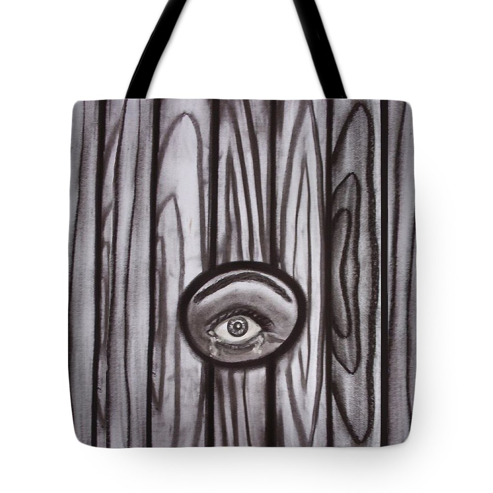 Eyes Tote Bag featuring the drawing Fear - Eye Through Fence by Joan Stratton