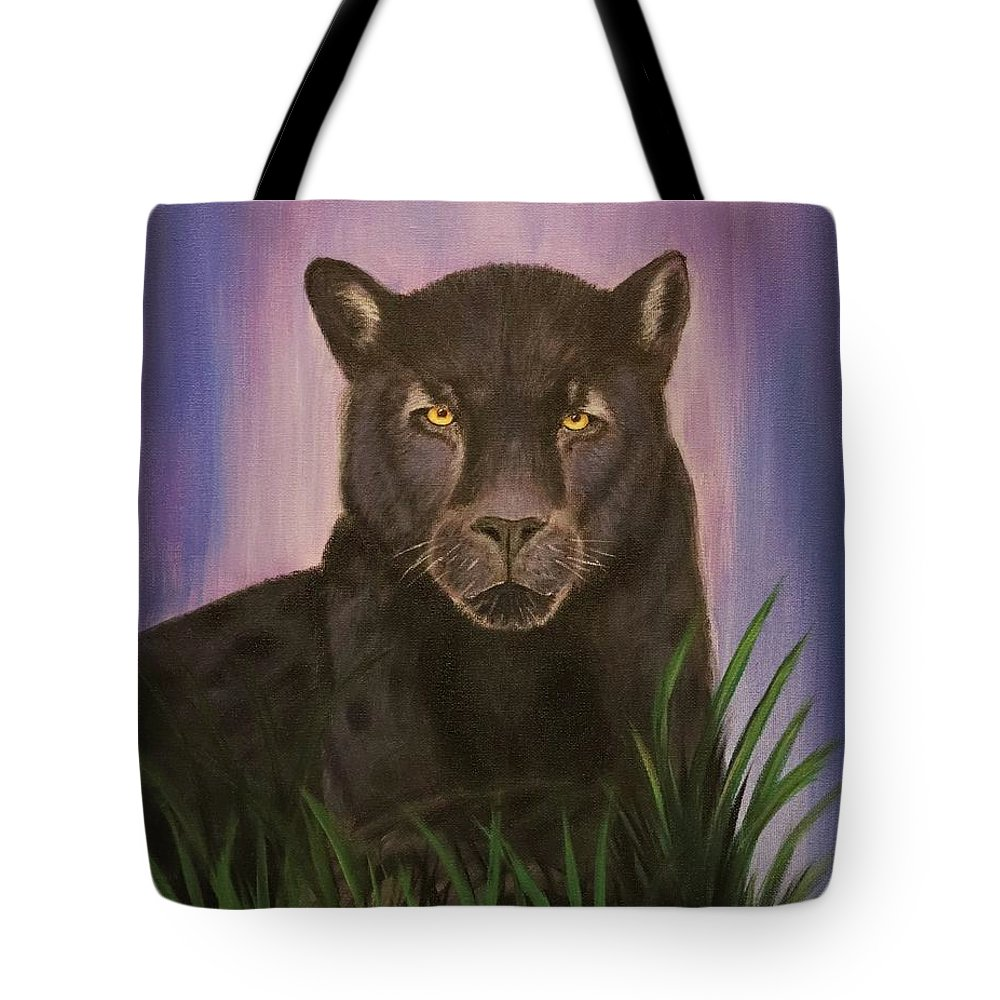Black Jaguar Tote Bag featuring the painting Fearless by Suzy Combs
