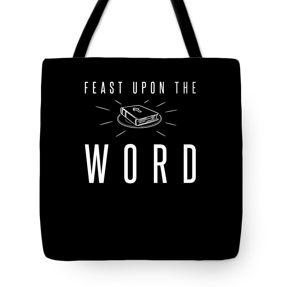 Funny-shirts Tote Bag featuring the digital art Feast Upon The Word Bible Verse Christian Christ Plate by Henry B