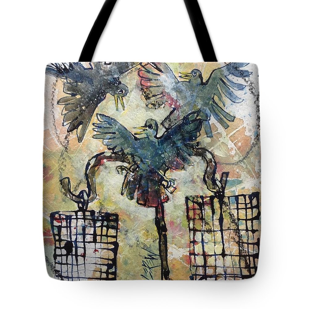 Birds Tote Bag featuring the painting Feeding Frenzy by Larry Lerew
