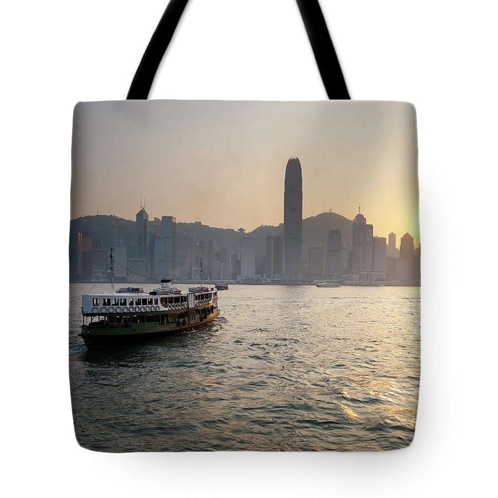 Chinese Culture Tote Bag featuring the photograph Ferry Boat To Hong Kong by Simonbradfield