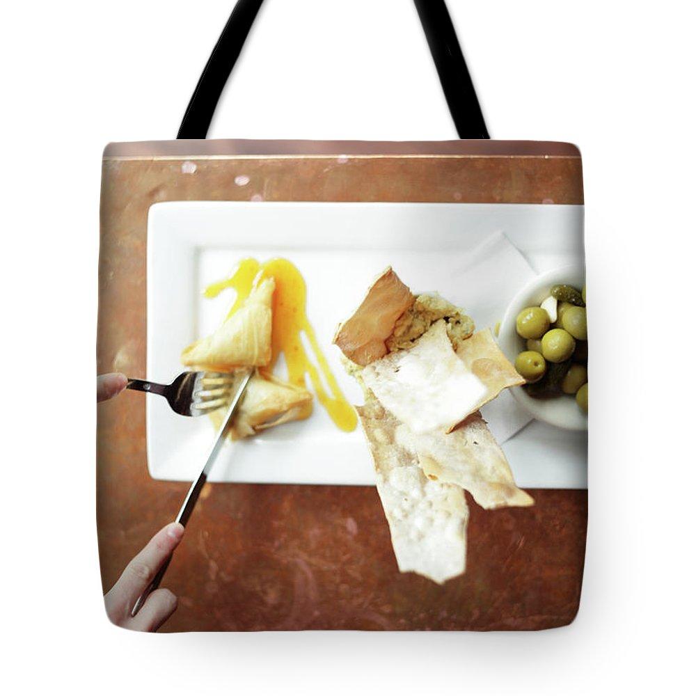 Feta Cheese Tote Bag featuring the photograph Feta Crisps by Caleb Condit