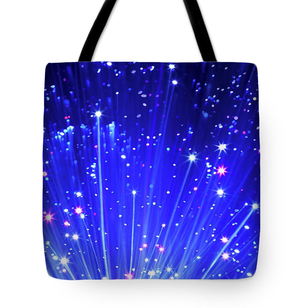 Technology Tote Bag featuring the photograph Fiber Optic Cables by Gandee Vasan