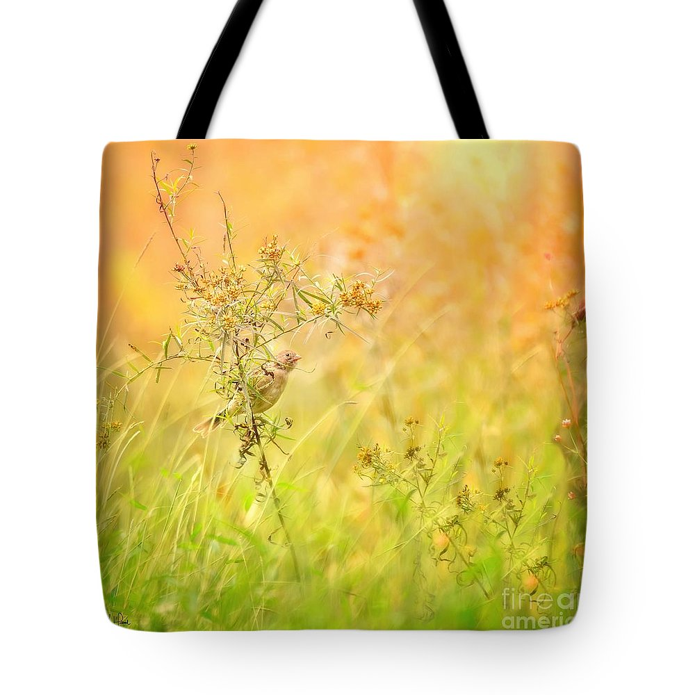 Aves Tote Bag featuring the photograph Field Sparrow by Heather Hubbard