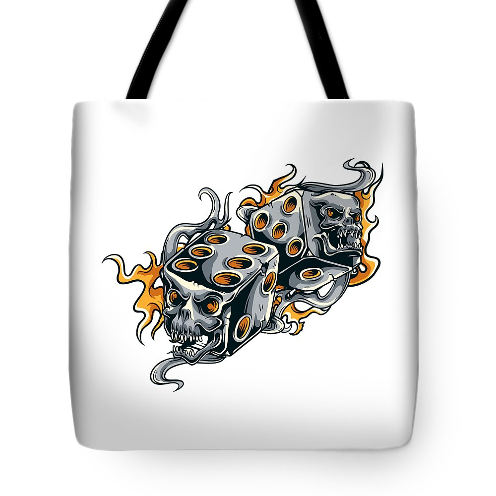 Skull Tote Bag featuring the digital art Fiery Skull Dice by Passion Loft