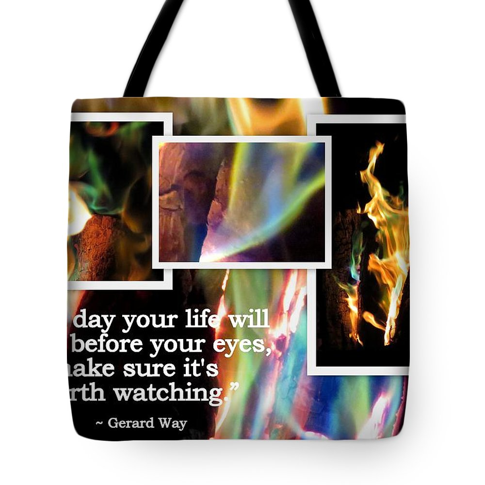 Camp Fire Tote Bag featuring the photograph Fire With Color by Linda Vanoudenhaegen