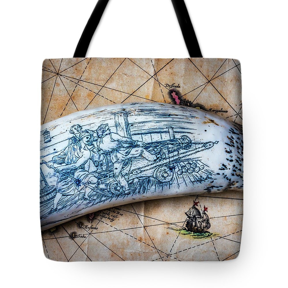 Scrimshaw Tote Bag featuring the photograph Firing Canon Carving by Garry Gay