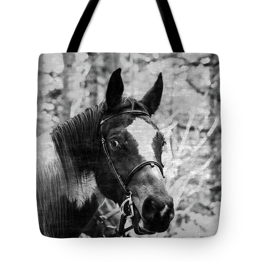 Horse Tote Bag featuring the pyrography First Ride In Forest by Alina Avanesian