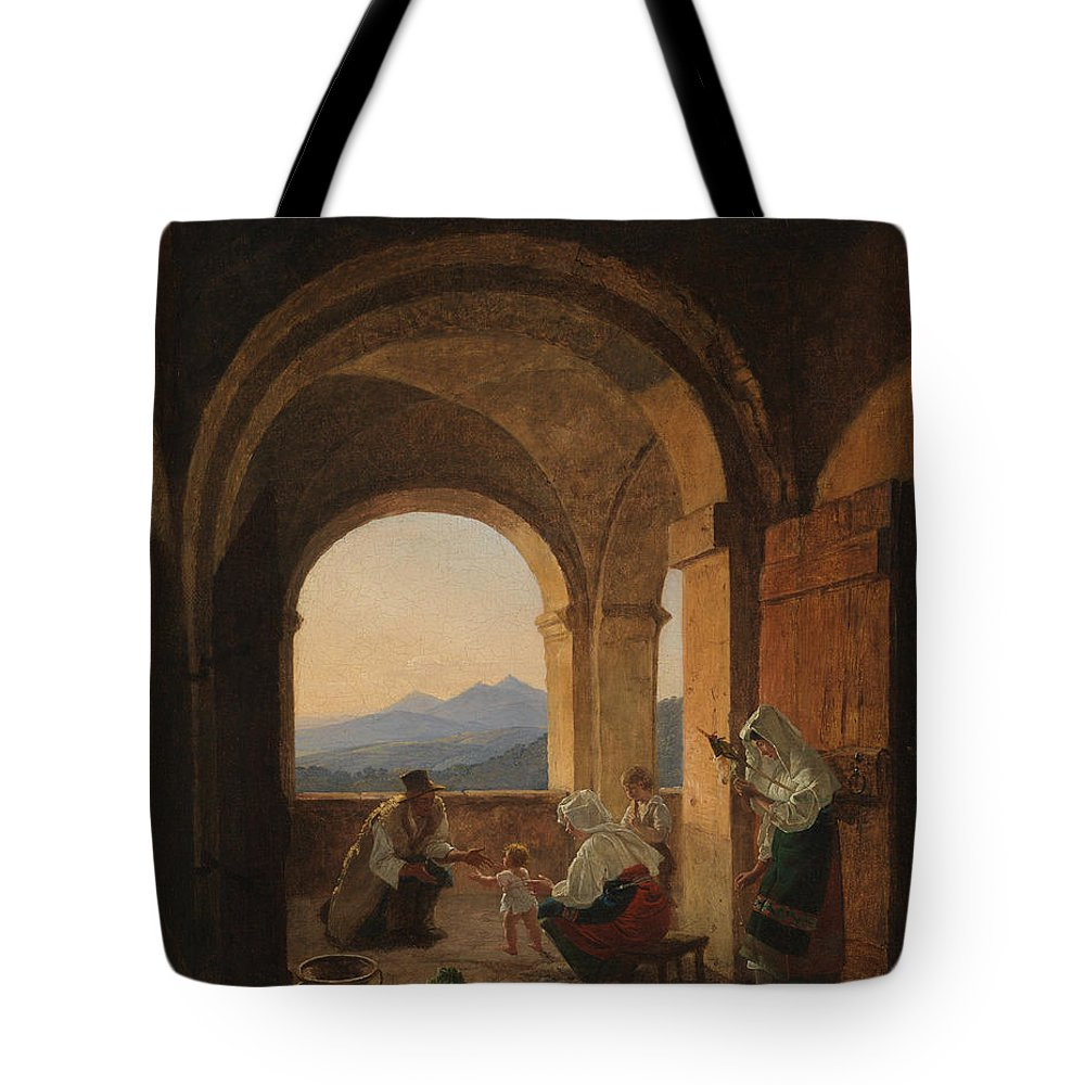 Franz Ludwig Catel Tote Bag featuring the painting First Steps by Franz Ludwig Catel