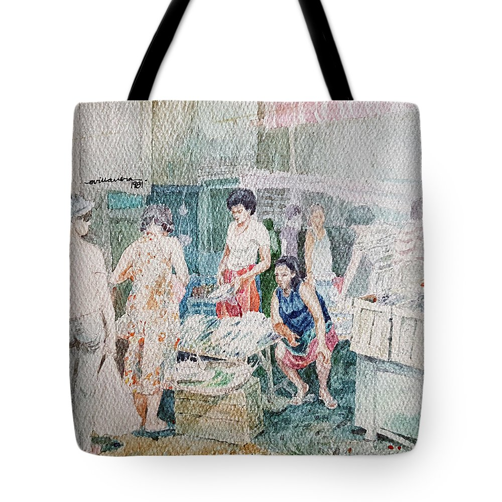 Market Tote Bag featuring the painting Fish Market by Edwin Villavera