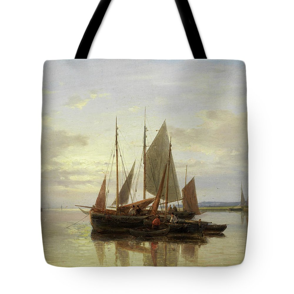 Seascape Tote Bag featuring the painting Fishing Boats In Calm Water by Abraham Hulk Senior