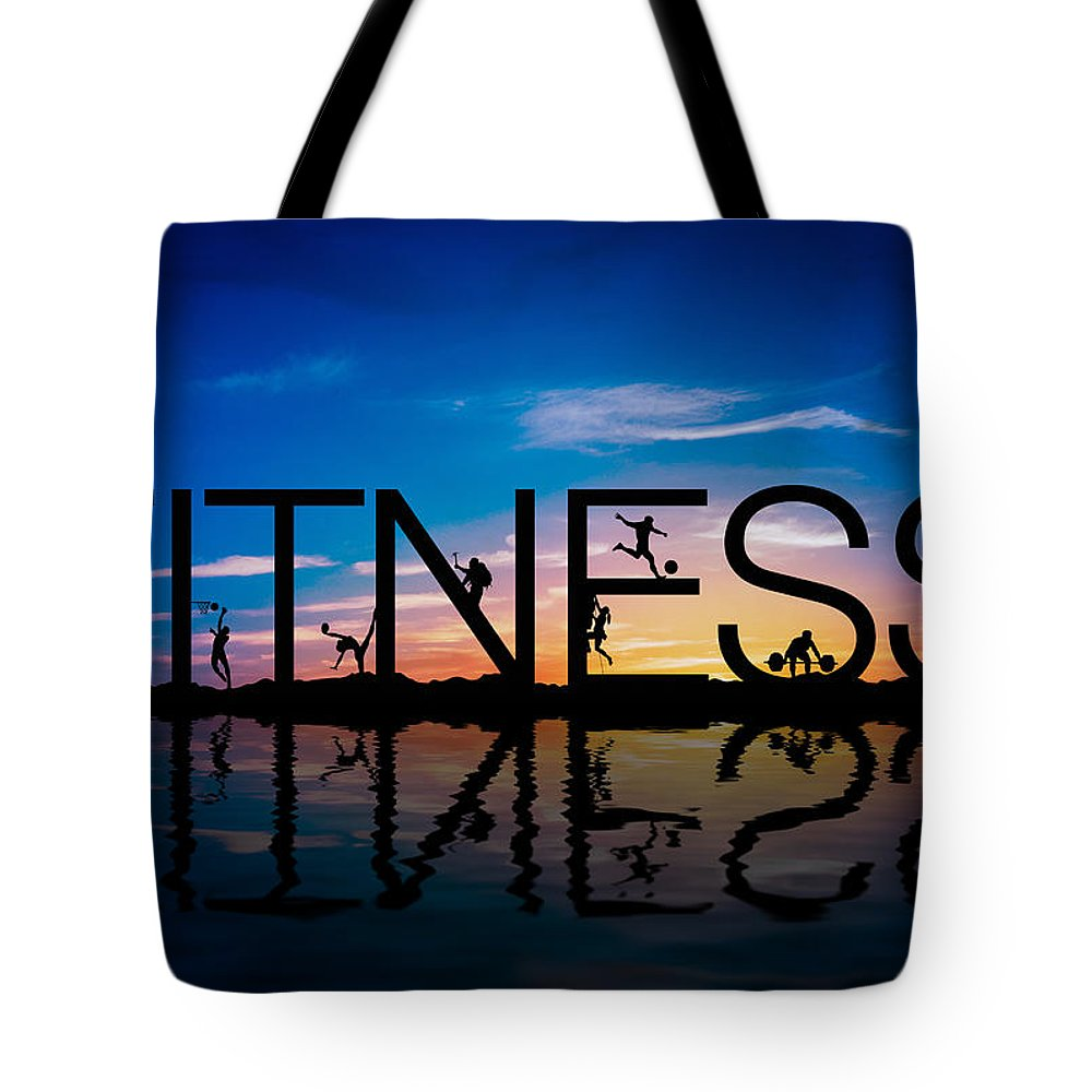 Fitness Tote Bag featuring the digital art Fitness Concept by Aged Pixel