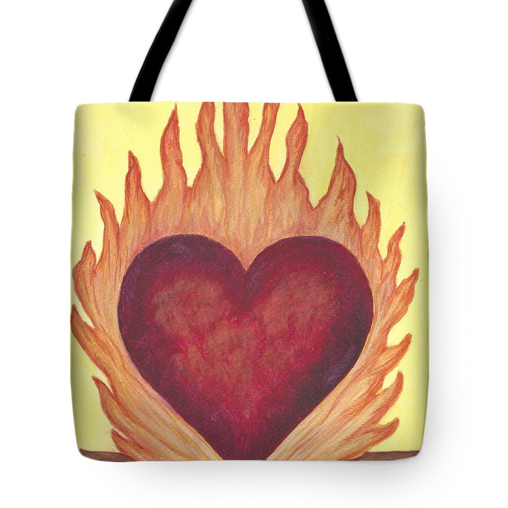 Heart Tote Bag featuring the painting Flaming Heart by Linda Humes