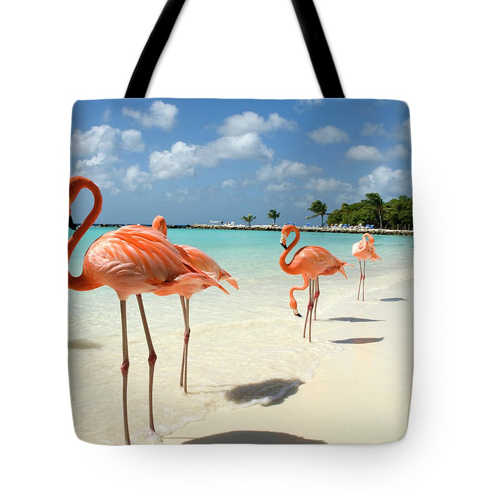 Shadow Tote Bag featuring the photograph Flamingos On The Beach by Vanwyckexpress
