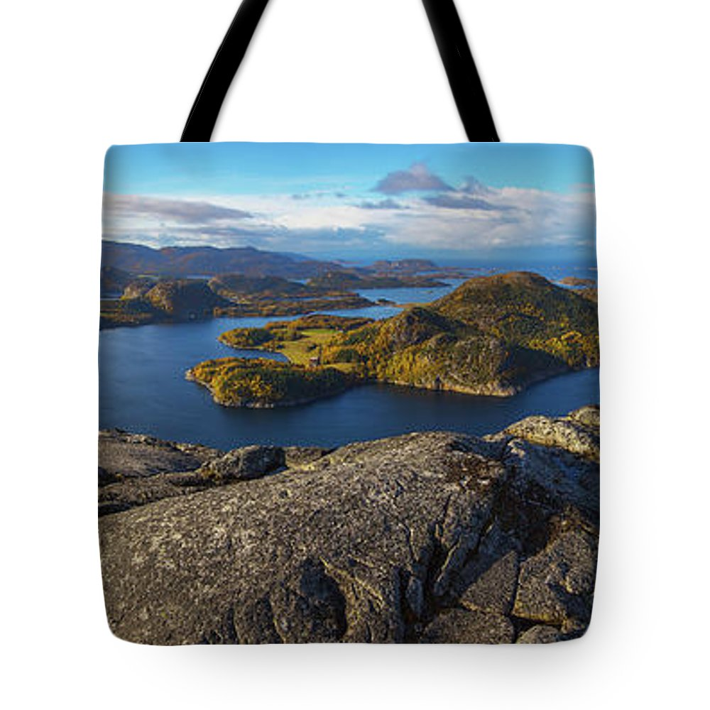 Landscape Tote Bag featuring the photograph Flatanger Panorama by Judy Hess