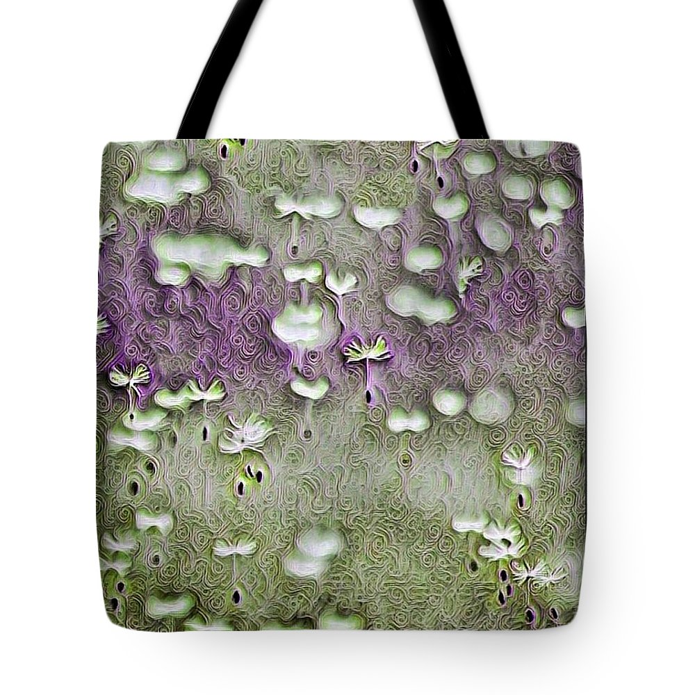 Tote Bag featuring the digital art Floaters, Nature, Dandelion Fluff, Design, Impression by Ellen Cannon