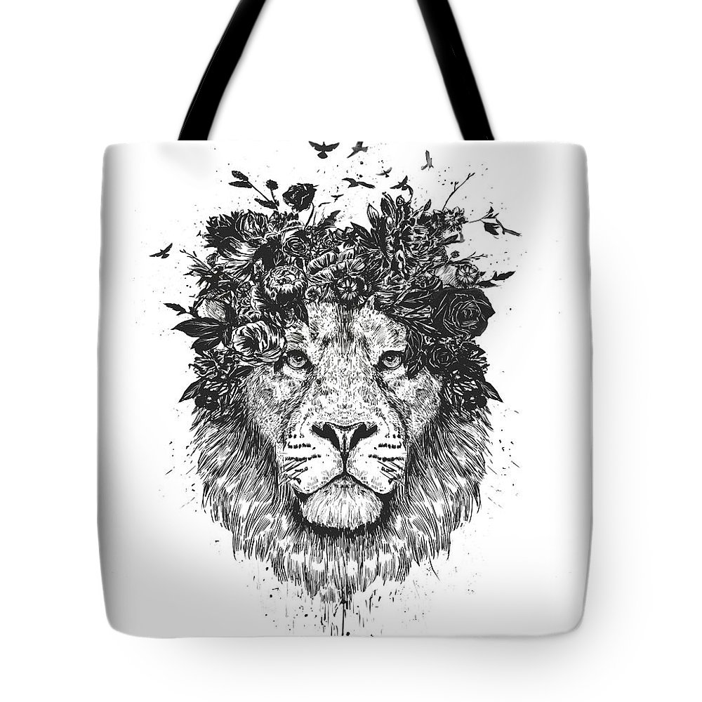 Lion Tote Bag featuring the drawing Floral lion by Balazs Solti
