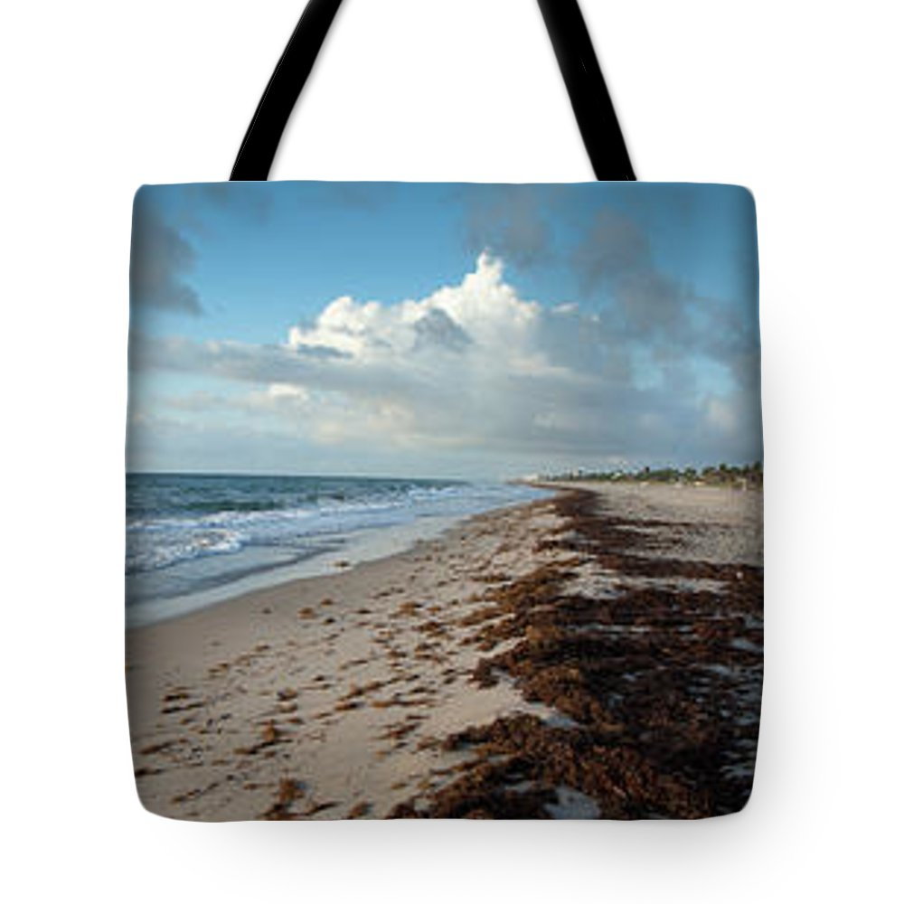 Scenics Tote Bag featuring the photograph Florida Beach With Gentle Waves And by Drnadig