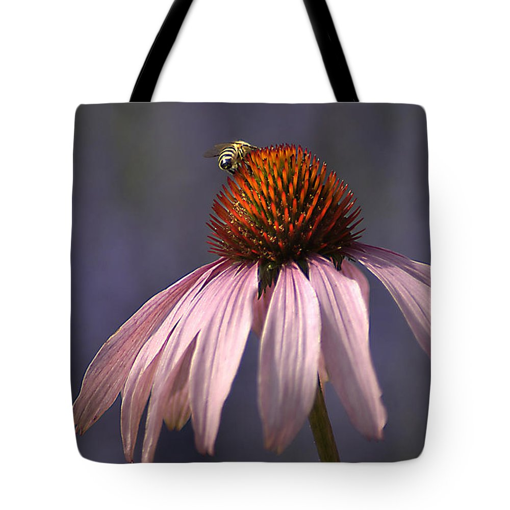 Insect Tote Bag featuring the photograph Flower And Bee by Bob Van Den Berg Photography