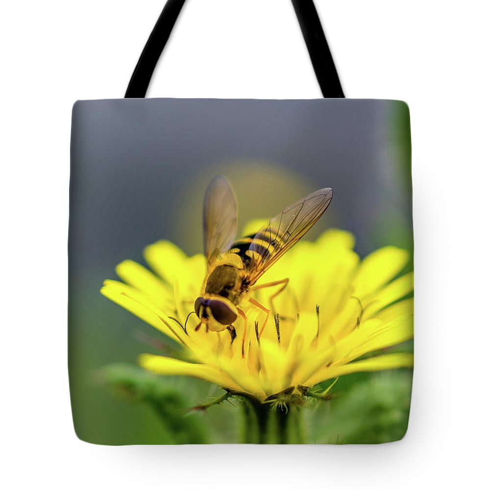 Flower. Bee. Nature. Tote Bag featuring the photograph Flower by Yau Ming Low