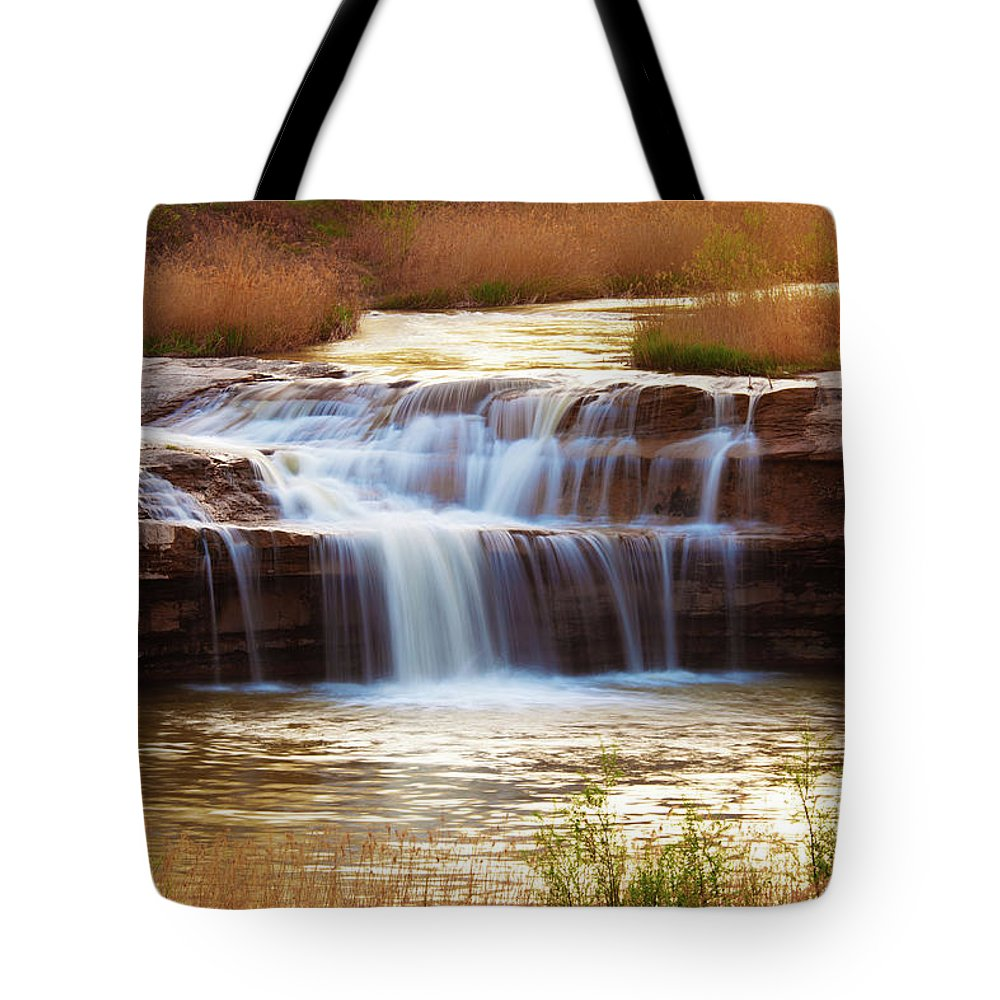 Scenics Tote Bag featuring the photograph Flowing Water On The Yellow Rock by Xenotar