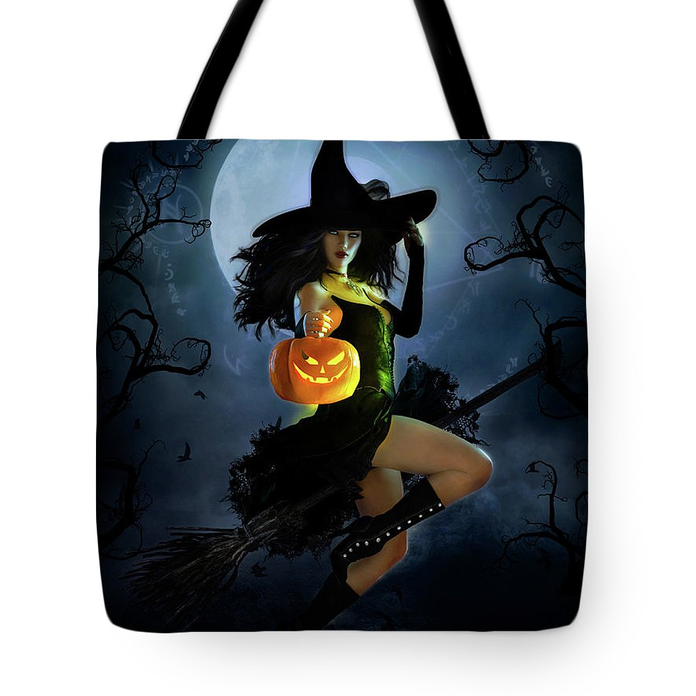 Fly By Night Tote Bag featuring the mixed media Fly By Night Halloween by Shanina Conway