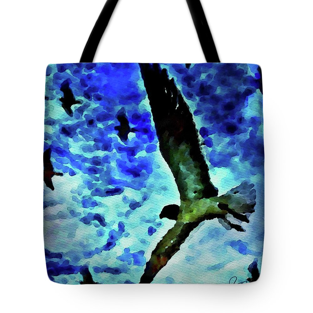 Painting Of Flying Seagulls In The Blue Sky Tote Bag featuring the painting Flying Seagulls by Joan Reese