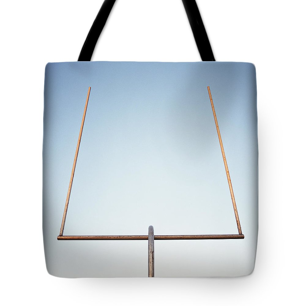 Goal Tote Bag featuring the photograph Football Goal Post by Mike Powell