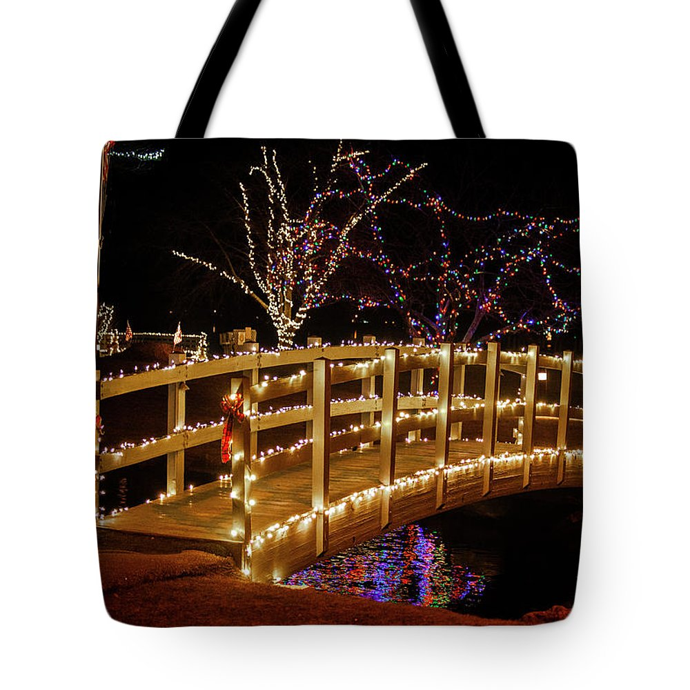 Footbridge Tote Bag featuring the photograph Footbridge In Christmas Lights by Trevor Slauenwhite