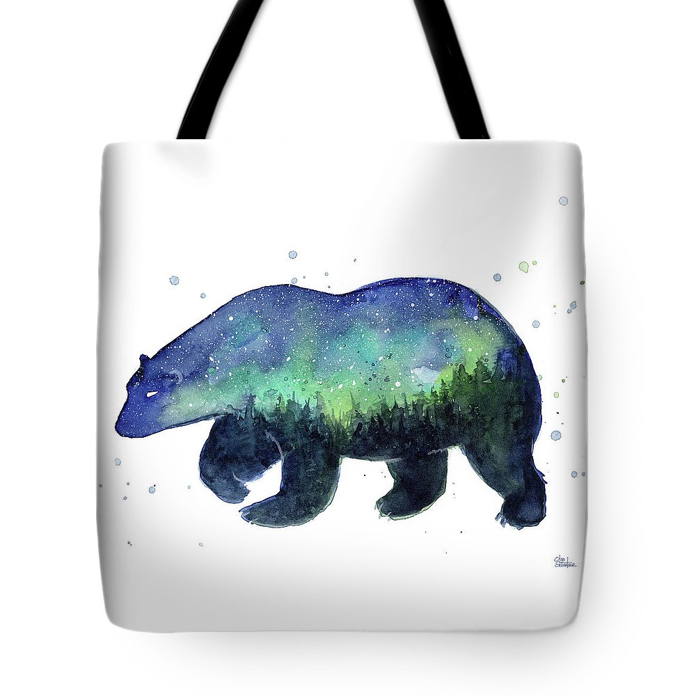 Galaxy Tote Bag featuring the painting Forest Bear Galaxy by Olga Shvartsur