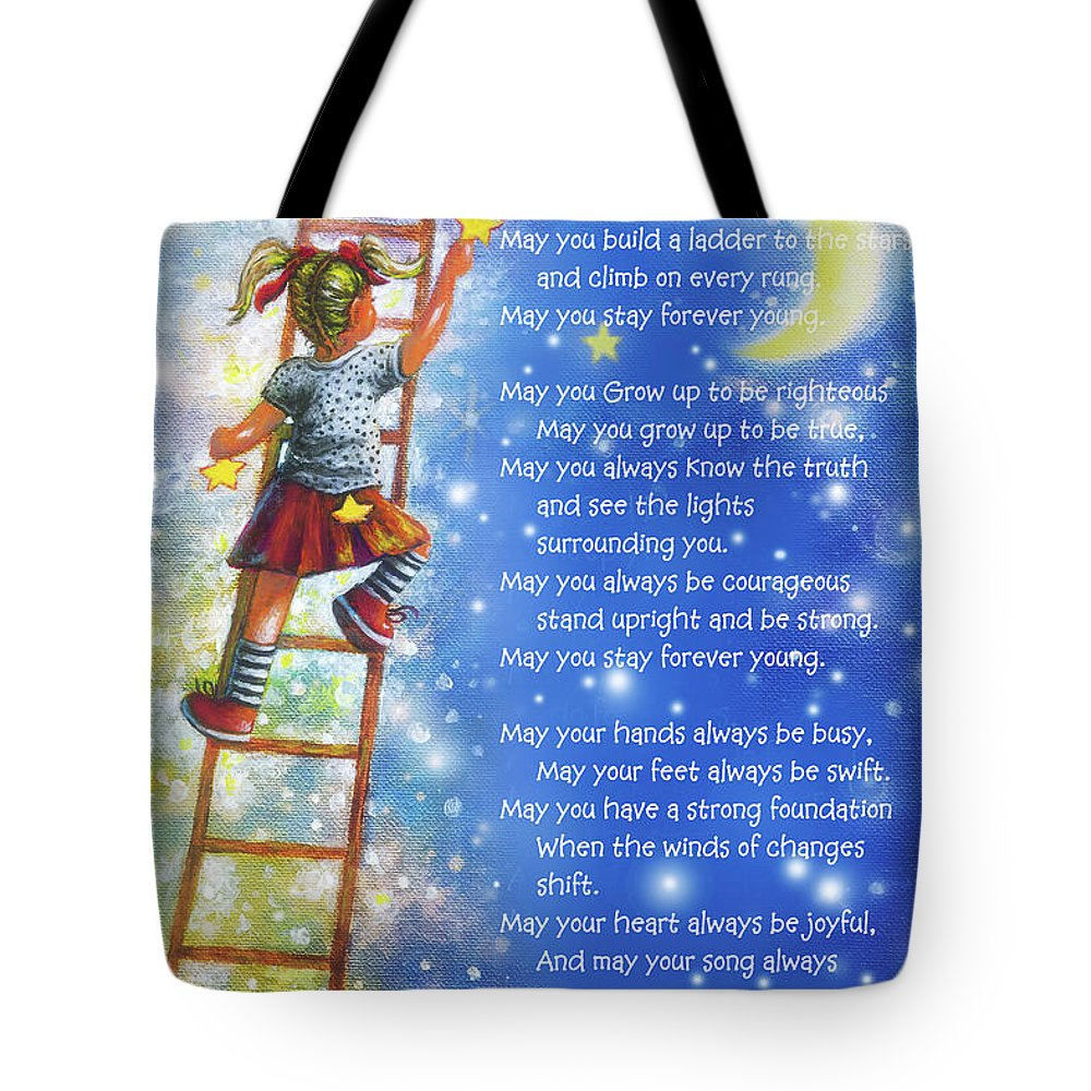 Forever Young All Lyrics Blonde Girl Wall Art Tote Bag featuring the painting Forever Young All Lyrics Blonde Girl by Vickie Wade